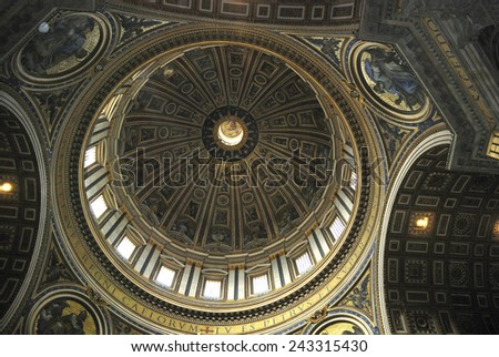 Rome, Italy - September 22, 2011: Interior view of the Saint Peters Basilica on the Saint Peters Square in Vatican City in Rome.