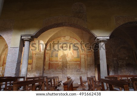 ROME, ITALY - SEPTEMBER 9, 2016: medieval chapel in the ancient Roman church San Saba close to the Aurelian Walls next to the Aventine Hill and Caelian Hill