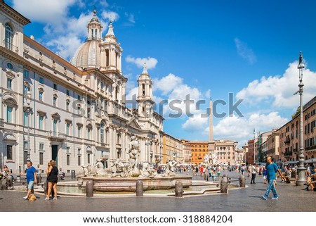 ROME, ITALY - SEPTEMBER 03, 2015: Navona Square (Piazza Navona) built on the site of the Stadium of Domitian, built in 1st century AD in Rome, Italy, September 03, 2015. - stock photo