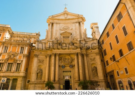 Rome, Italy - September 3, 2014: San Marcello al Corso is church in Rome, Italy, devoted to Pope Marcellus I. In ancient times called via Lata, and which now connects Piazza Venezia to Piazza  Popolo. - stock photo
