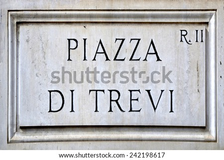 Rome, Italy - September 20, 2011: Street sign the Piazza di Trevi in Rome.