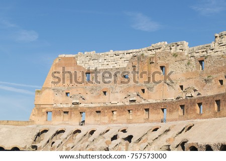 Rome, Italy, September 5th, 2017: Inside view of the famous Colosseum in Rome, Italy