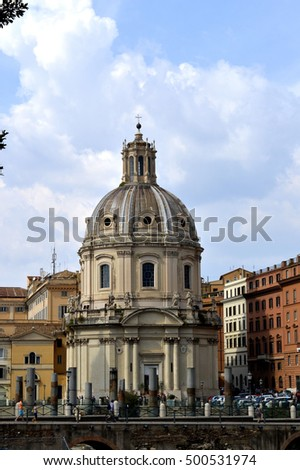 Rome, Italy - September 12, 2016 : The Church of the Most Holy Name of Mary at the Trajan Forum in Rome