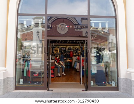 ROME, ITALY - SEPTEMBER 3, 2015. Tommy Hilfiger Store in Rome, Italy. Tommy Hilfiger is an American fashion, apparel, design, fragrance retail company, offering consumers low end products.