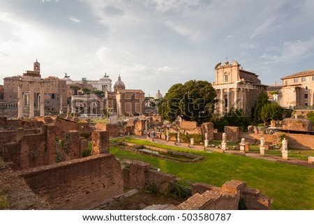 ROME, ITALY - September  12, 2016: Veiw on the  Roman Forum in Rome during sunset.