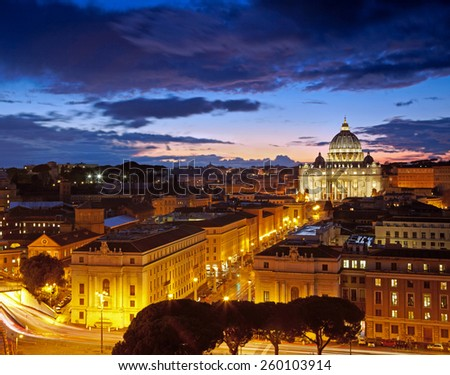 Rome, Italy. St. Peter's cathedral after sunset - stock photo