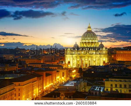 Rome, Italy. St. Peter's cathedral in sunset lights - stock photo