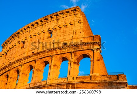 Rome, Italy. Sunset with Coliseum, Coloseo. Colosseum ruins of ancient amphitheatre largest in Roman Empire.
