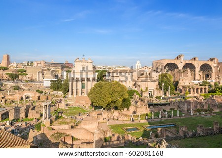 Rome, Italy. The ancient ruins of Roman Forum: temple of Deified Julia,  temple of Vesta, house of Vestals, Temple of Antoninus and Faustina, Temple of Romulus, Basilica of Maxentius