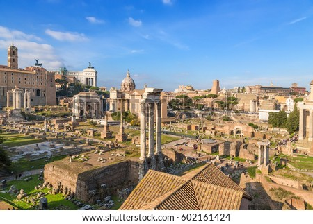 Rome, Italy. The ancient ruins of the Roman Forum: temple; of Saturn, of Vespasian,  of Dioscurus,  of Deified Julius, of Vesta and Tabularia,, Arch of Septimius Severus,