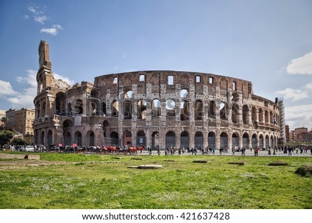 ROME, ITALY; The Colosseum is most remarkable landmark of Rome and Italy. Colosseum is an elliptical amphitheatre in the centre of the city of Rome.