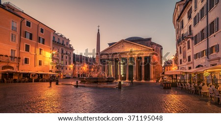 Rome, Italy: The Pantheon in the sunrise. Building was completed by the emperor Hadrian. - stock photo