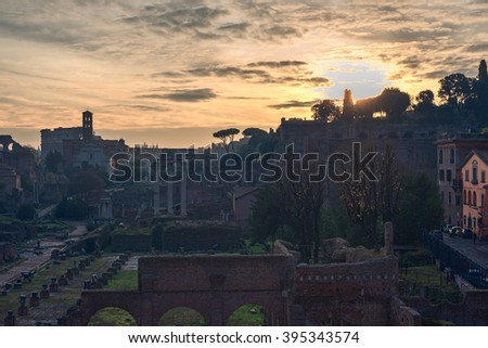 Rome, Italy: The Roman Forum, Latin: Forum Romanum, Italian: Foro Romano, in the sunrise. Old Town of the city - stock photo