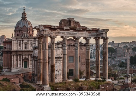 Rome, Italy: The Roman Forum, Latin: Forum Romanum, Italian: Foro Romano, in the sunrise. Santi Luca e Martina Church - stock photo
