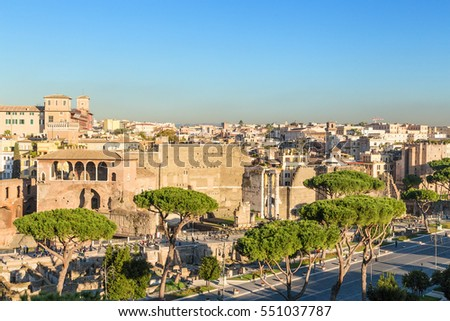 Rome, Italy. View from Capitol Hill to the forums of Augustus and Nerva