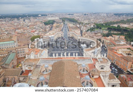 Rome, Italy, view from the San Pietro Cathedral - stock photo