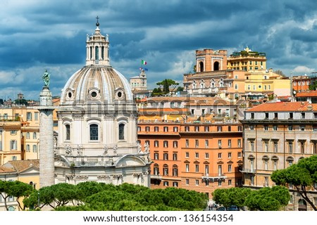 Rome, Italy, view of the Trajan's column and cathedral on Piazza Venezia - stock photo