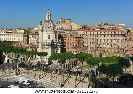ROME, ITALY: View on the church of Holy Name of Mary in the Forum of Trajan, October 03, 2012