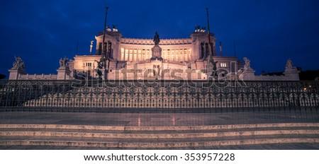 Rome, Italy: Vittoriano, Victor Emmanuel II Monument at night - stock photo