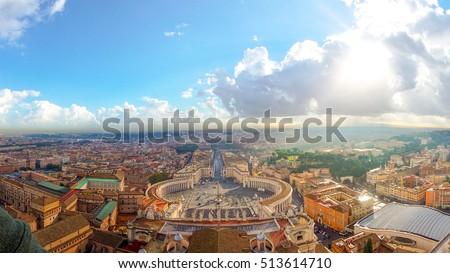 Rome, Italy with Vatican city. Famous Saint Peter's Square in Vatican and aerial view of the city with building and panorama ancient cityscape in the morning cloud and light.