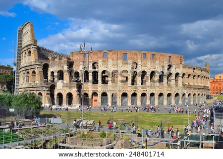 Rome, Italy. Wonderful architecture of Colosseum in a sunny summer day