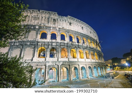 Rome, Italy. Wonderful view of Colosseum at dusk.