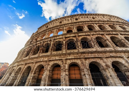 ROME - January 10: Coliseum exterior on January 10, 2016 in Rome, Italy.