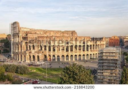 ROME - January 7: Colosseum (Coliseum) in on January 7, 2014 Rome, Italy. The Colosseum is an important monument of antiquity and is one of the main tourist attractions of Rome.