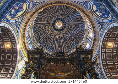 ROME - January 8: Interior of the Saint Peter Cathedral in the Vatican on January 8, 2012 in Rome, Italy. St. Peter's Basilica until recently was considered the largest Christian church in the world. - stock photo