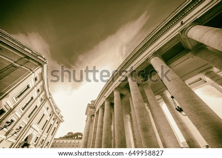 ROME - January 6, 2016: St. Peter's Square, ancient Rome in Rome, Italy.