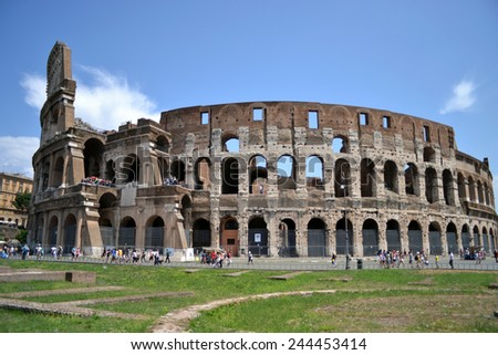 ROME-JULY 21:  Coliseum on july 21, 2013 in Rome, Italy - stock photo