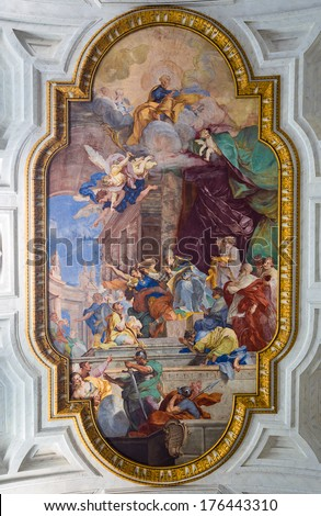ROME - JULY 26: fresco, The Miracle of the Chains in the center of the coffered ceiling  at San Pietro in Vincoli  church on July 26, 2013. Rome. Italy.