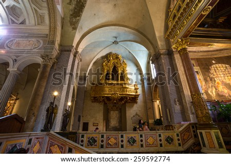 ROME - JULY 26: interior of San Pietro in Vincoli church on July 26, 2013. Rome. Italy.