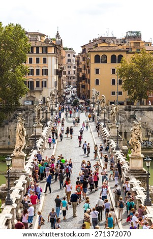ROME - JULY 12: Panoramic above view of Sant Angelo's bridge in Rome, Italy on July 12, 2014 - stock photo