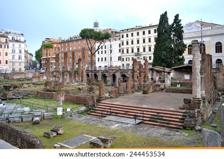 ROME-JULY 21:  Piazza Argentina on july 21, 2013 in Rome, Italy - stock photo