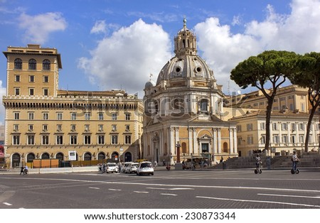 ROME - July 01: Piazza Venezia and the Church of the Most Holy Name of Mary (Santa Maria di Loreto) at the Trajan Forum in Rome, Italy, on July 01, 2014 in Rome, Italy - stock photo