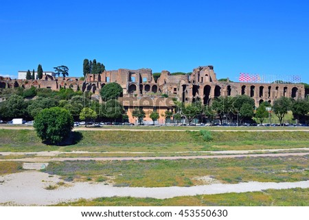 ROME - JUNE 18 2016: Circus Maximus is an ancient Roman chariot racing stadium and it measured 621 meters in length and 118 meters in width.