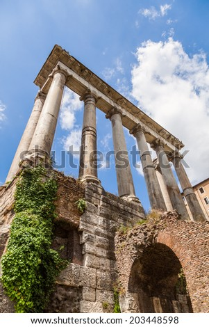 ROME - JUNE 30: Roman Forum on June 30, 2014 in Rome. It was for centuries center of Roman life, today a sprawling ruin of fragments and archaeological excavations for 4.5 million sightseers yearly