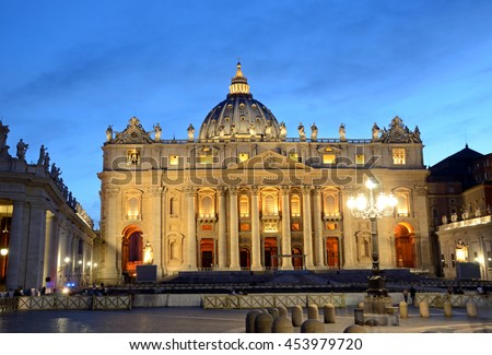 ROME - JUNE 18 2016: St. Peter's Basilica is one of the largest churches in the world and was completed in 1626.