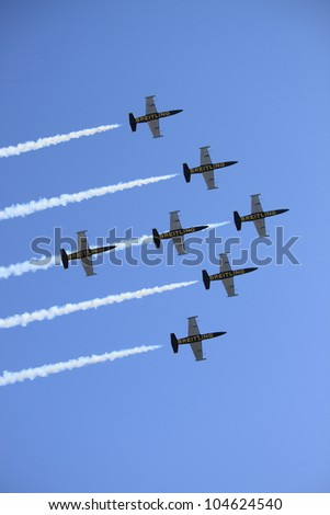 ROME - JUNE 3: The acrobatic team Breitling Jet Team perform at the Rome International Air Show on June 3, 2012 in Rome, Italy