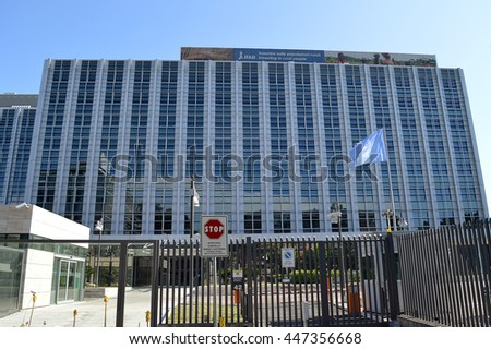 ROME - 5 JUNE 2016: The headquarters of the UN agency IFAD, International Fund for Agricultural Development, which provides low-interest loans and direct assistance to combat hunger and rural poverty.