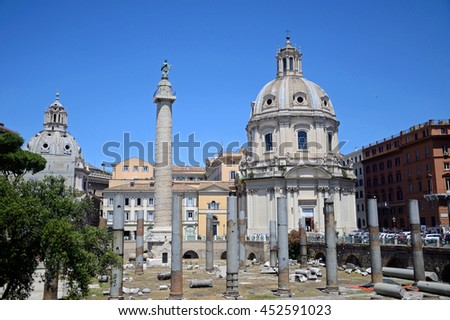 ROME - JUNE 18 2016: Trajan's Forum is part of the vast complex of the Imperial Forums in Rome and was constructed between 107 and 112 AD.