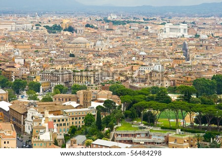 Rome, landscape seen from San Peters Basilica in June 2010 - stock photo