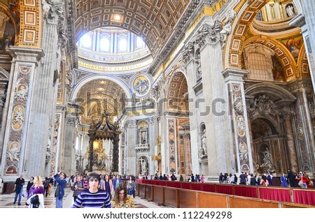 ROME - MARCH 23: Indoor St. Peter's Basilica on March 23, 2012 in Rome, Italy. St. Peter's Basilica until recently was considered largest Christian church in world