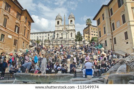 ROME - MARCH 28: The Spanish Steps, seen from Piazza di Spagna on March 28 2012, Rome.The Spanish Steps are the widest staircase in Europe. - stock photo