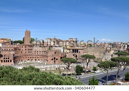 ROME - MAY 07: The part of old town and Roman ruins in Rome on May 07. 2015 in Italy