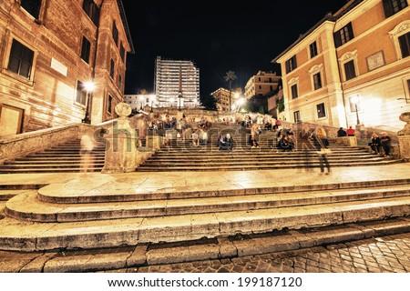 Rome. Night view of Spanish Steps in Trinita dei Monti. - stock photo