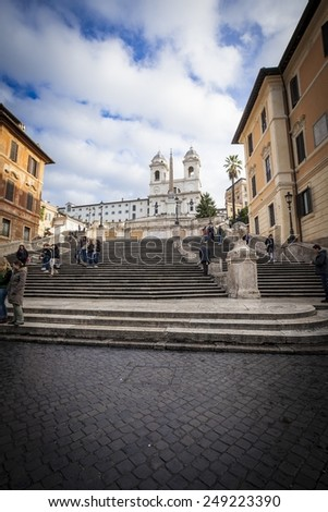 ROME - NOVEMBER 19: The famous Spanish Steps, view from Piazza di Spagna on November 19 2012, Rome. - stock photo