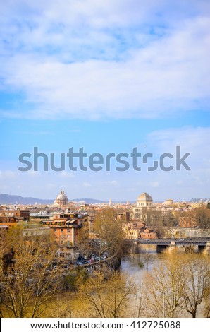 Rome panorama with monument and domes, Italy