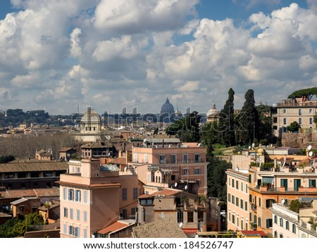 Rome panorama with roof gardens and the st Peter church